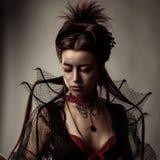 Готский портрет девушки модели стиля Стоковые Изображения RF