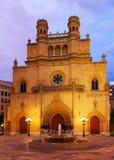 Готский собор на мэре площади в вечере. Castellon de Ла План Стоковые Изображения RF