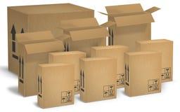 Гофрированные картонные коробки Стоковое Изображение RF