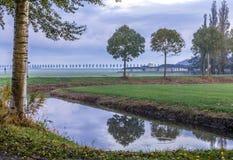 Голландская сельская местность в утре Стоковая Фотография RF