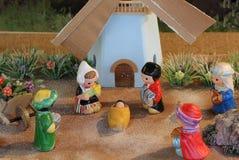 Голландская сцена рождества с ветрянкой Голландии и 3 королями Стоковое фото RF