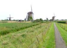 Голландские ветрянки в Kinderdijk, месте всемирного наследия ЮНЕСКО Стоковые Изображения