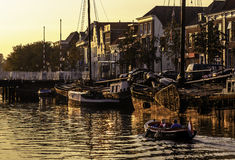 Голландский канал Thorbeckegracht Zwolle Стоковое Изображение
