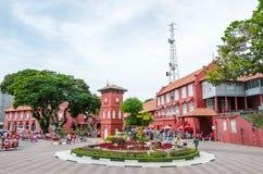 Голландский квадрат в историческом центре Малаккы, Малайзии Стоковое Изображение