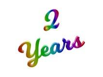 2 года годовщины, праздника каллиграфического 3D представили иллюстрацию текста покрашенный с градиентом радуги RGB Стоковые Фотографии RF