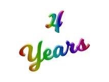 4 года годовщины, праздника каллиграфического 3D представили иллюстрацию текста покрашенный с градиентом радуги RGB Стоковое Фото