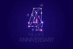 4 года дизайна годовщины Абстрактная форма с соединенными линиями a Стоковая Фотография