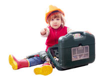 2 года ребенка с инструментами над белизной Стоковые Изображения
