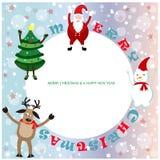 год вала ster снежинок неба голубой иллюстрации ели волочения в холодном состоянии рождества веселый новый Стоковые Фото