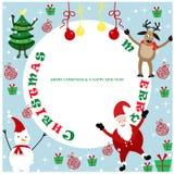 год вала ster снежинок неба голубой иллюстрации ели волочения в холодном состоянии рождества веселый новый Стоковая Фотография