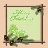 год вектора рождества приветствуя новый s карточки Стоковое Изображение