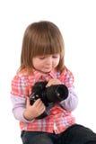 2-год-девушка и фотоаппарат Стоковое Изображение