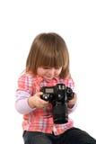 2-год-девушка и фотоаппарат Стоковая Фотография RF