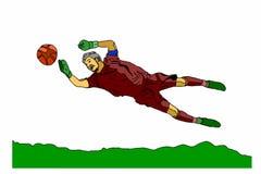 Голкипер футбола на белой предпосылке Стоковая Фотография