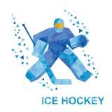 Голкипер шаржа с хоккейной клюшкой улавливает шайбу Стоковое Изображение RF
