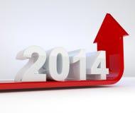 Год 2014 - красный рост стрелки иллюстрация штока