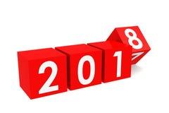 Год 2018 на красных кубах Стоковая Фотография