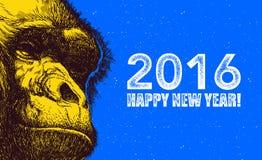 Год обезьяны также вектор иллюстрации притяжки corel Стоковые Фото