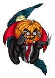 Голова Джек тыквы хеллоуина и крыса Стоковое Изображение