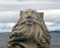Голова деревянного старика Стоковые Изображения