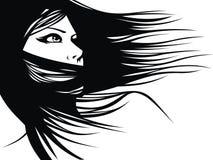 Голова женщины и их волосы (вектор парикмахера) Стоковое Изображение RF