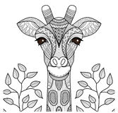 Голова жирафа Zentangle иллюстрация штока