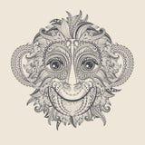 Голова дизайна татуировки обезьяны иллюстрация вектора