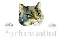 Голова и лапки кота акварели Стоковые Фотографии RF