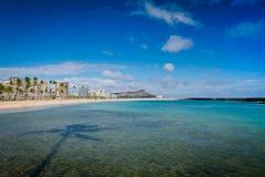 Голова и Waikiki диаманта от пляжа Moana алы Стоковое фото RF