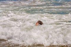 Голова маленькой девочки в отмелых океанских волнах стоковое фото rf