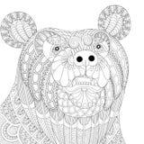 Голова медведя zentangle вектора для взрослых анти- страниц расцветки стресса