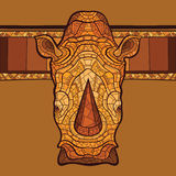 Голова носорога с этническим орнаментом Стоковое Изображение
