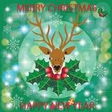 Голова оленей на лист и снежинках ягоды Бесплатная Иллюстрация