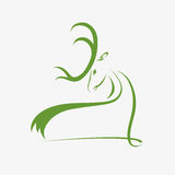 Голова оленей силуэта Стоковая Фотография