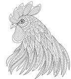 Голова петуха в стиле zentangle Символ китайского Нового Года 2017 взрослая анти- страница расцветки стресса Стоковое Фото