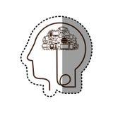голова профиля силуэта стикера человеческая с прибором техника Стоковые Изображения RF