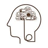 голова профиля силуэта человеческая с прибором техника Стоковые Изображения