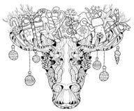 Голова рождества наслоенной лосем иллюстрации вектора Стоковая Фотография RF
