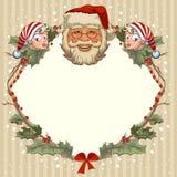 Голова Санта Клауса и гнома Карточки шаблона для рождества Стоковые Фотографии RF