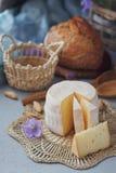 Голова свежего органического сыра служила с хлебом, гайками, белыми wi Стоковые Изображения