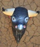Голова сувенира быка на стене загородного дома на берегах озера Titicaca Стоковое Изображение RF