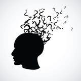Голова с вопросительными знаками Стоковое фото RF