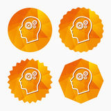 Голова с значком знака шестерней Мужская человеческая голова Стоковое Изображение RF