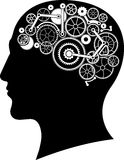 Голова с мозгом шестерни Стоковое Изображение RF