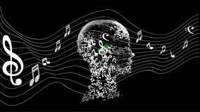 Голова с музыкой примечания Стоковое фото RF