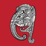 Голова слона Иллюстрация Ganesha нарисованная рукой Стоковые Изображения RF