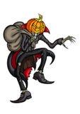Голова тыквы хеллоуина Джека с мешком Стоковая Фотография