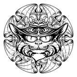 Голова черного кота на круговой летучей мыши подгоняет орнамент иллюстрация вектора