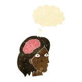 голова шаржа женская с символом мозга с пузырем мысли Стоковая Фотография
