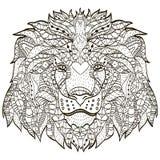 Голова шаржа Zentangle стилизованная льва иллюстрация вектора